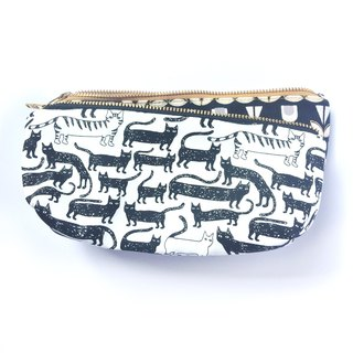 Cute Cat Canvas Pencil Case Makeup Bag - Black and White