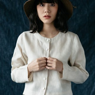 Long sleeves shirt with shell Buttons in Natural