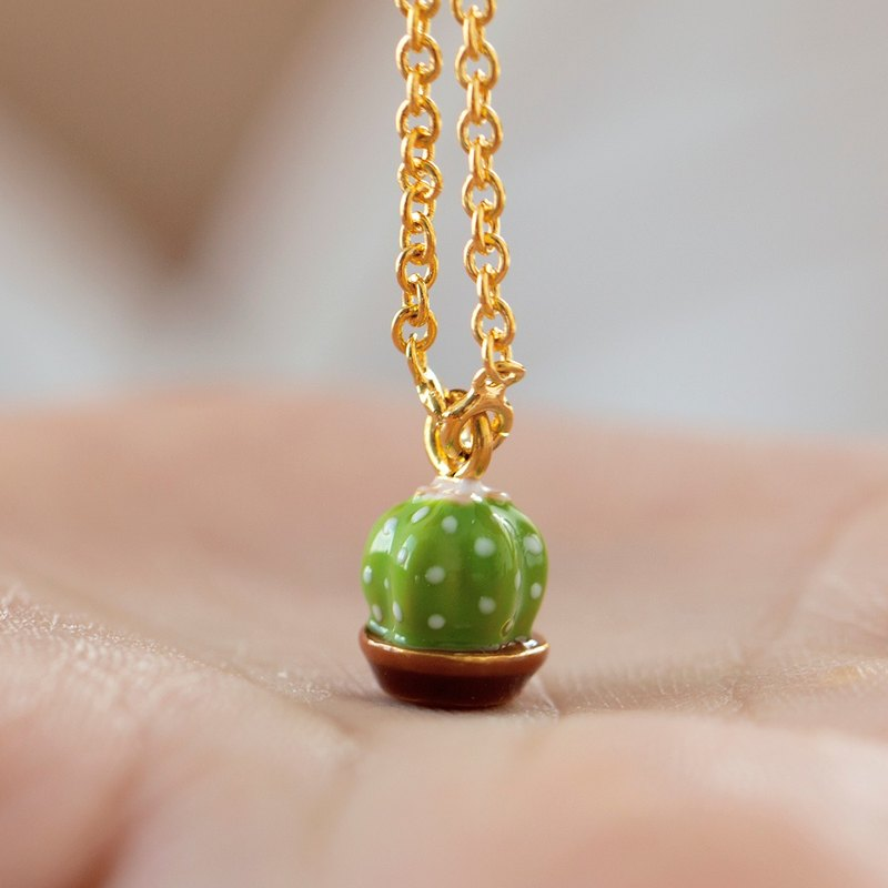 Cactus Necklace in 24k Yellow Gold Plating