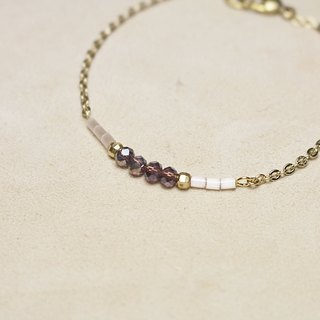 // Purple Dinner Glass Crystal Brass Bracelet // vb006