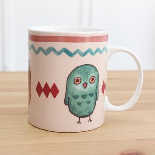 White porcelain mug - owl three brothers / microwave / through SGS