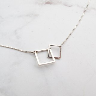 Big staff Taipa [manually made] square × handmade × variable × size box sterling silver necklace