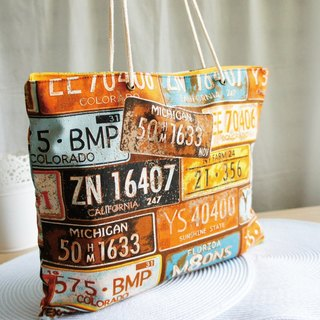 Lovely square foldable carry-on bag, A4 magazine, retro license plate orange