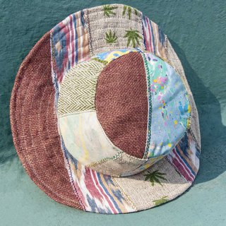 National wind stitching hand-woven cotton cap knit hat fisherman hat sun hat straw hat - hemp forest