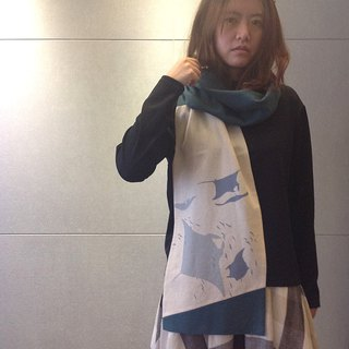 Design No.RS176 - 【Sharks x Rays】Handmade Scarves