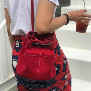 Mini Red/Navy Canvas Bucket Bag with strap /Leather Handles /Daily use