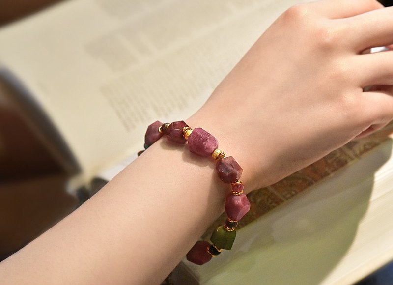 Wulingchun~ Shaped Watermelon Tourmaline Raw Mineral 14KGF Bracelet