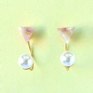 Marble Labs Impressionist Triangle Sakura Pearls / Mosaic Front and Rear Two Wear 2 way Earrings / Ear Clip (EP010)