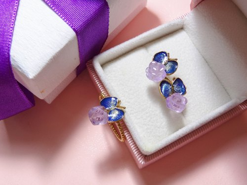 [New Year Lucky Bag] enamel butterfly series (new) enamel butterfly inlaid amethyst rose natural stone earrings and rings