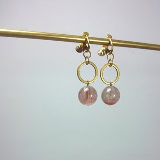 BZ 39: brass clip earrings with pink quartz