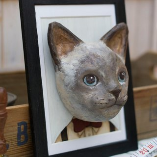 Paper cat head with wood frame