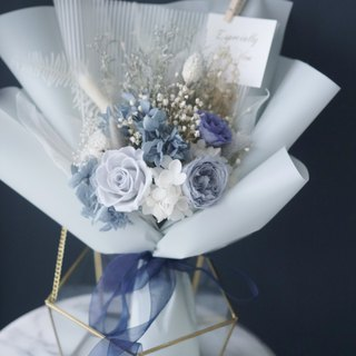 Valentine's Day Marriage Graduation Bouquet Vintage Gray Blue Japan Imported Eternal Flower Rose Garden Rose Bouquet Bouquet