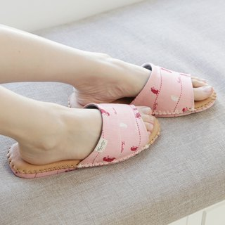 Leather cloth flower indoor slippers (walking in the first line)