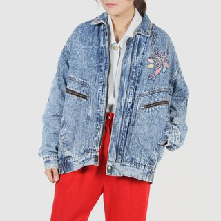 [Egg Plant Vintage] Washed Snowflake Embroidery Vintage Denim Jacket