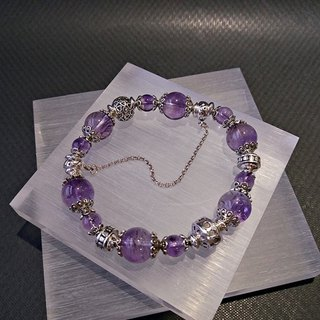 Forever fascinated - premium natural purple hair crystal sterling silver bracelet