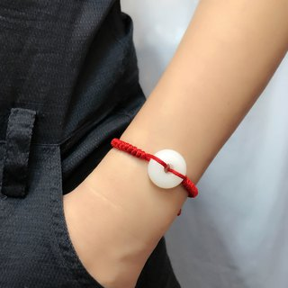 Lucky Diffuser Clear Color Donut Bracelet Adjustable Red Cord Braid Chain
