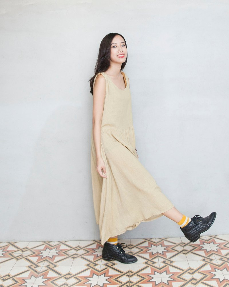 Light yellow long dress - Loris wool felt