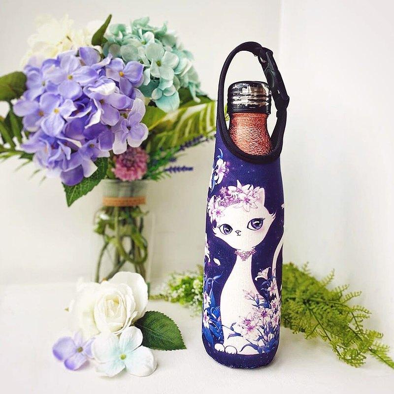 掛包+手拿 二用式隨身瓶套 / 保溫瓶袋-百合花小女王/深紫羅蘭色