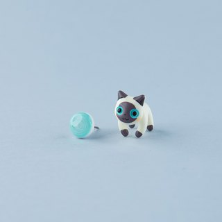 Siamese Cat - Polymer Clay Earrings, Handmade&Handpaited Catlover Gift