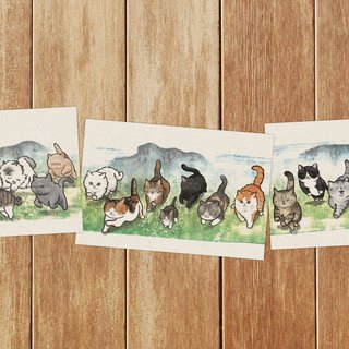 GALLOPING CAT POSTCARD SET