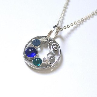Silver × glass ripple pendant 【free shipping】