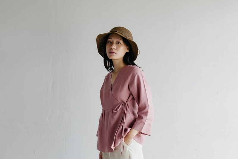Linen wrap top with Long sleeves in Rose Wood