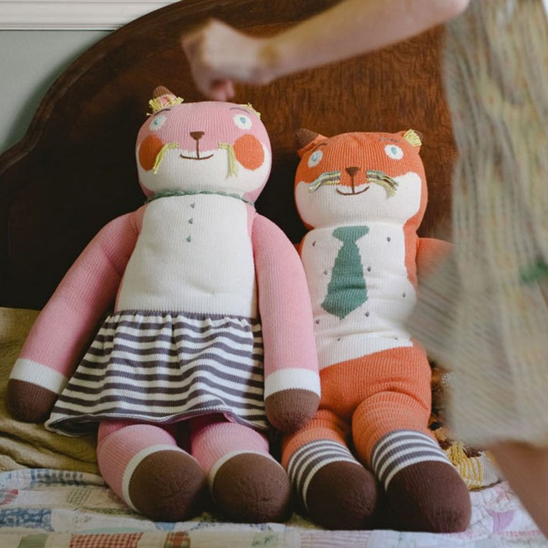 United States Blabla Kids Pure Cotton Knit Doll (Giant) Socks Fox 1-05-096 (Limited Delivery)