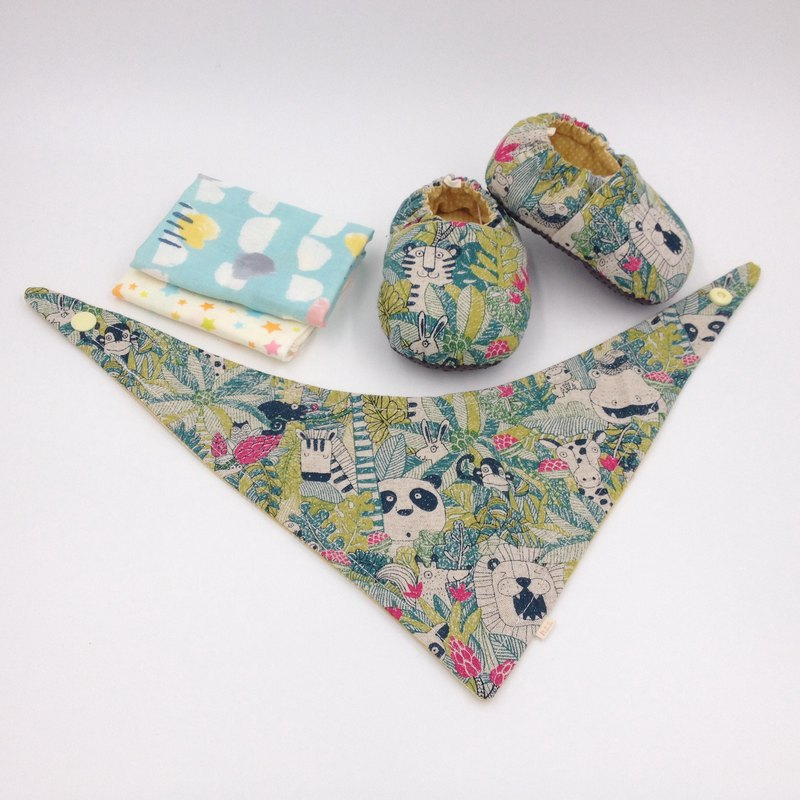 Tropical rain forest-Miyue baby gift box (toddler shoes / baby shoes / baby shoes + 2 handkerchief + scarf)