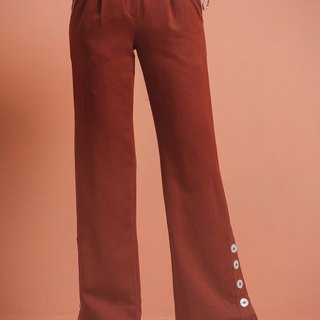 Waist waist straight wide pants - brick red
