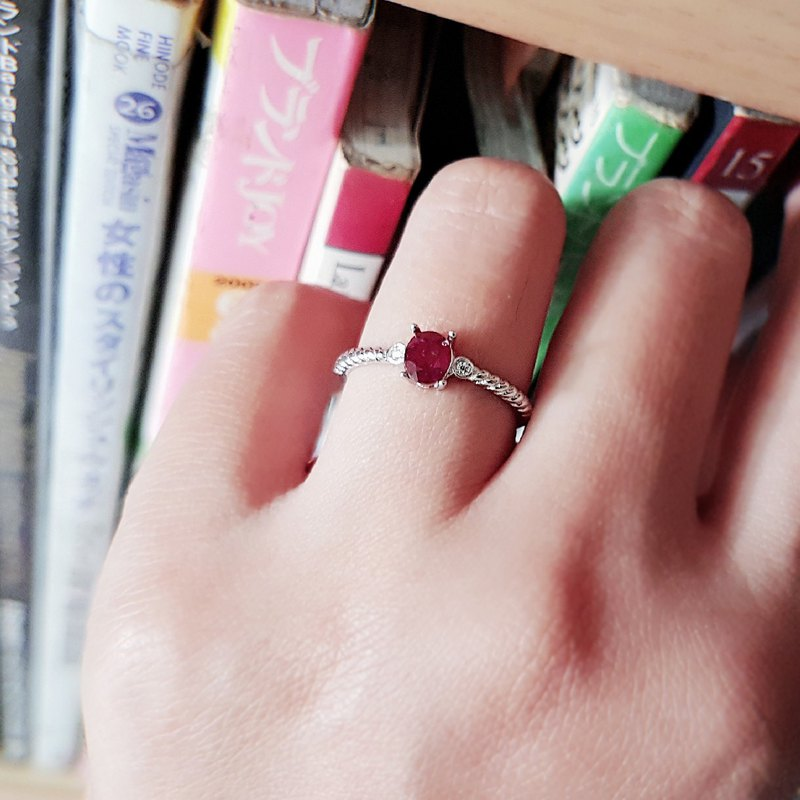Natural ruby Ruby 925 piping silver ring index finger ring ring adjustable