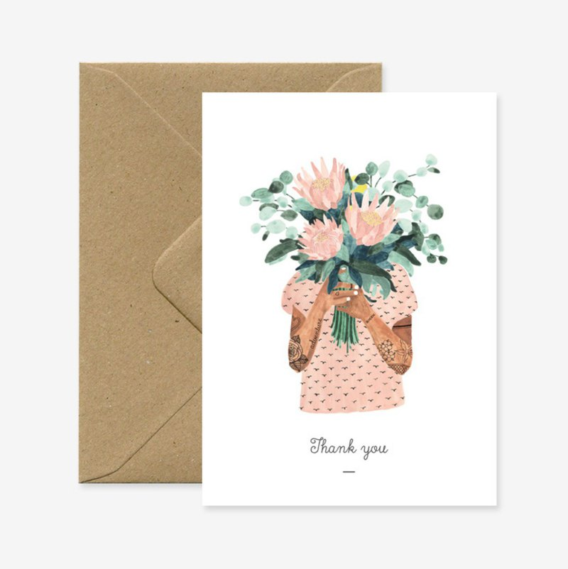 Tattoo girl offering flowers thank you card