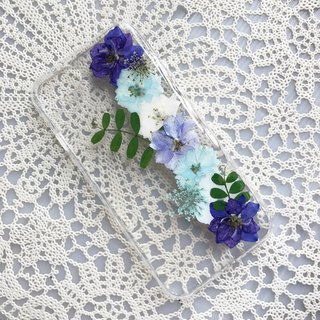 iPhone 7 Dry Pressed Flowers Case Blue Flower case 020