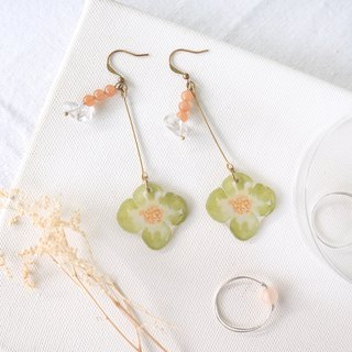 Flower collection album handmade earrings - grassland dance crystal Nao red Dongling can be clipped