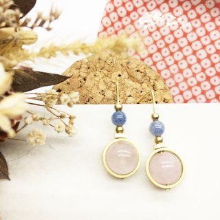 Laurin Grocery Travelin natural stone brass earrings through the crystal / aquamarine ear hook l ear needle l ear clip