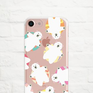 Polar Bear Chill, Clear Soft Phone Case, iPhone X, iphone 8, iPhone 7, iPhone 7 plus, iPhone 6, iPhone SE, Samsung