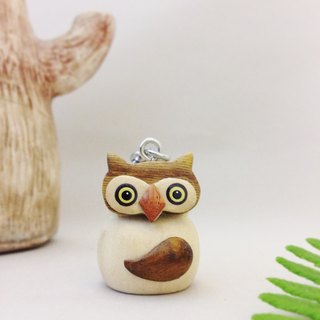 [X stereoscopic handmade wooden owl keychain / strap] ✦ good peace