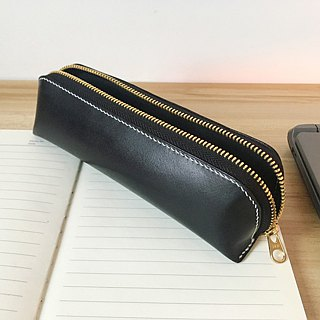 Hand sewn vegetable-tanned leather black zipper pen case / pencil case free customized large capacity