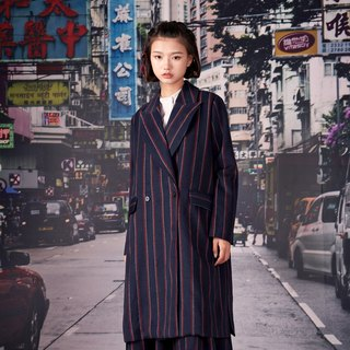 kitann ino side split retro striped coat