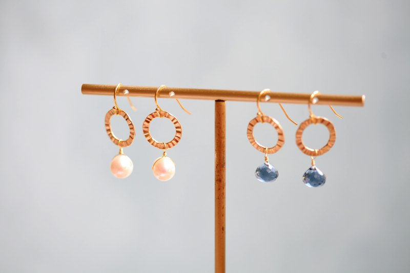 Gold-plated disc pearl blue quartz stone earrings │ Japanese gold-plated pearl quartz stone gift can be changed