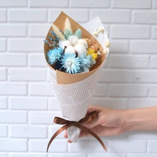 Blossom Blossom Blossom Bouquet - Blue / Yellow Floral Wedding Ceremony Birthday Gift Exchange Gift Graduation Gift