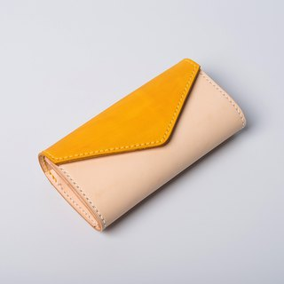 [Cut line] Memories envelope large-capacity leather custom mosaic stitching long wallet clutch bag