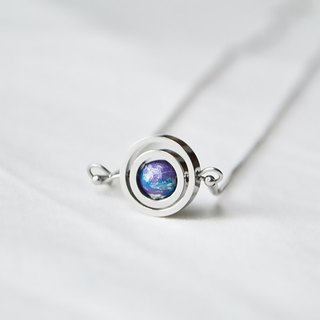 Purple double turn necklace -- silver
