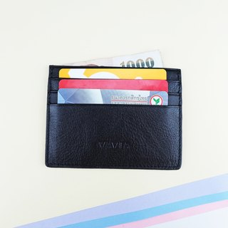 """BLACK"" Cow Leather Card Holder"