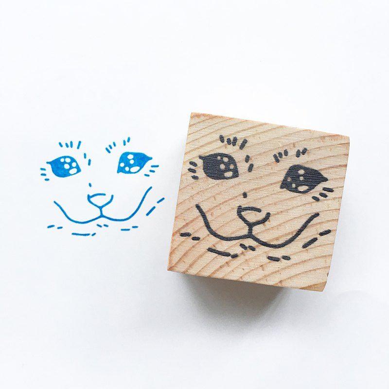 Sad Cat Face meme snail mail wooden block stamp