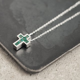 Emerald Cross Men's Necklace 925 Silver