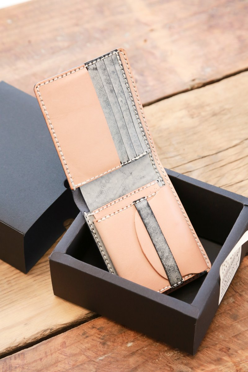 hykcwyre 皮製拼色短夾材料包, 短錢包, 零錢格, 四卡片格, 配色