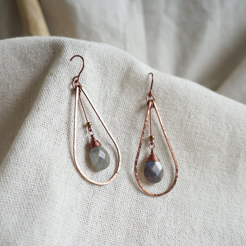 Handmade copper earrings - romantic dripping moonstone non-oxidative discoloration