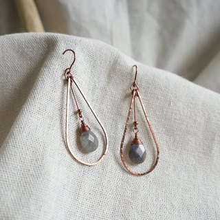 Handmade copper ash moonstone dripping pendant earrings bohemian non-oxidative color holiday wind