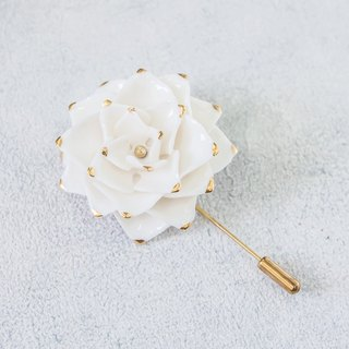 Thai Blossom ~ white & gold porcelain flower brooch pin ~ size L.