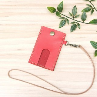Leather leisure card set wine red free lettering gift lanyard